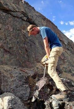 Member of our research team collecting samples in Ladakh.