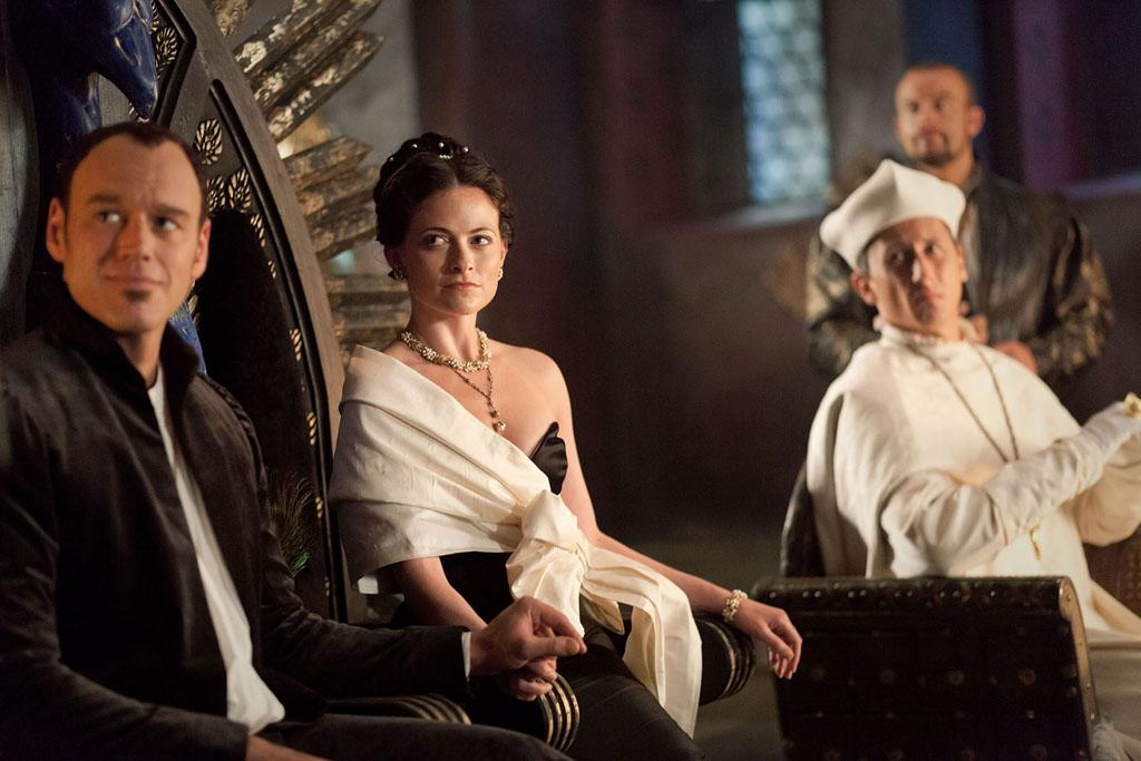 "Clarice Orsini (Lara Pulver) and Lorenzo Medici (Elliot Cowan) in ""Da Vinci's Demons"" on Starz."