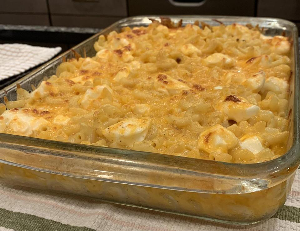 """<p>This incredibly indulgent <a href=""""https://www.thedailymeal.com/cook/25-amazing-mac-and-cheese-recipes-0?referrer=yahoo&category=beauty_food&include_utm=1&utm_medium=referral&utm_source=yahoo&utm_campaign=feed"""" rel=""""nofollow noopener"""" target=""""_blank"""" data-ylk=""""slk:twist on mac and cheese"""" class=""""link rapid-noclick-resp"""">twist on mac and cheese</a> has a secret: cream cheese. It's just one of those <a href=""""https://www.thedailymeal.com/cook/unexpected-mac-and-cheese-additions?referrer=yahoo&category=beauty_food&include_utm=1&utm_medium=referral&utm_source=yahoo&utm_campaign=feed"""" rel=""""nofollow noopener"""" target=""""_blank"""" data-ylk=""""slk:unexpected ingredients that go great in mac and cheese"""" class=""""link rapid-noclick-resp"""">unexpected ingredients that go great in mac and cheese</a>.</p> <p><a href=""""https://www.thedailymeal.com/recipes/cheese-and-macaroni-pie-recipe?referrer=yahoo&category=beauty_food&include_utm=1&utm_medium=referral&utm_source=yahoo&utm_campaign=feed"""" rel=""""nofollow noopener"""" target=""""_blank"""" data-ylk=""""slk:For the Cheese and Macaroni Pie recipe, click here."""" class=""""link rapid-noclick-resp"""">For the Cheese and Macaroni Pie recipe, click here.</a></p>"""