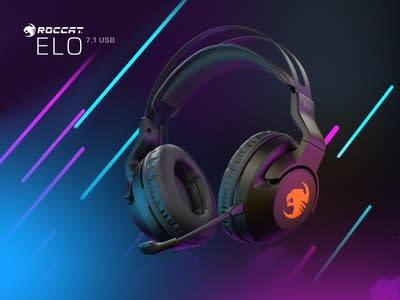 """The new ROCCAT Elo 7.1 USB surround sound RGB gaming headset combines exceptional 7.1 channel immersive 360° """"visual audio"""" surround sound with a unique, weightless fit for supremely comfortable gaming sessions."""
