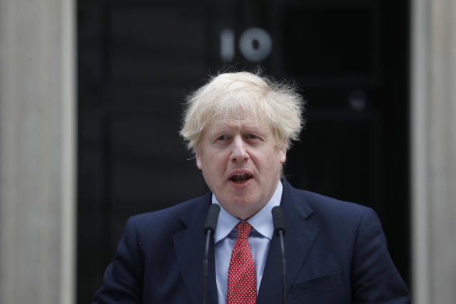 Boris Johnson makes a statement on his first day back at work in Downing Street, London. (AP)
