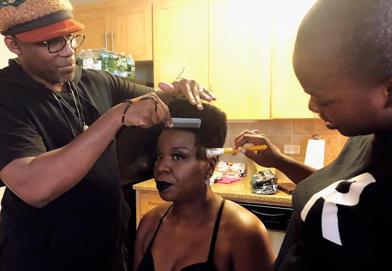 Dennis Bailey and Lola Okanlawon getting my glam look ready for tonight's TIME100 Gala!