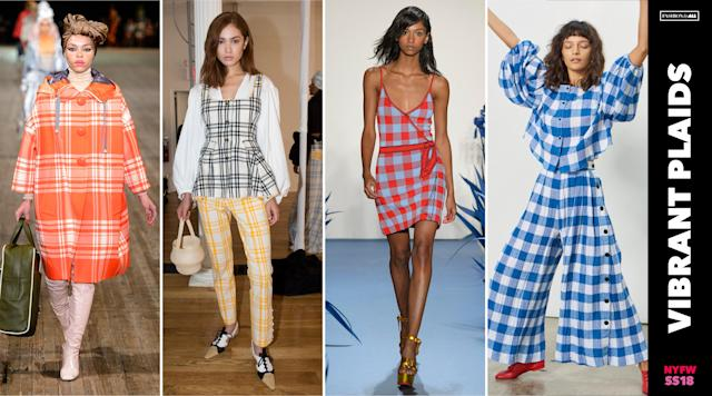<p><i>Plaids get a fresh look in vibrant colors. Don't be surprised if you see colorful plaid coats, pants, jumpsuits, and dresses all over the streets next spring. (Photo: ImaxTree) </i></p>