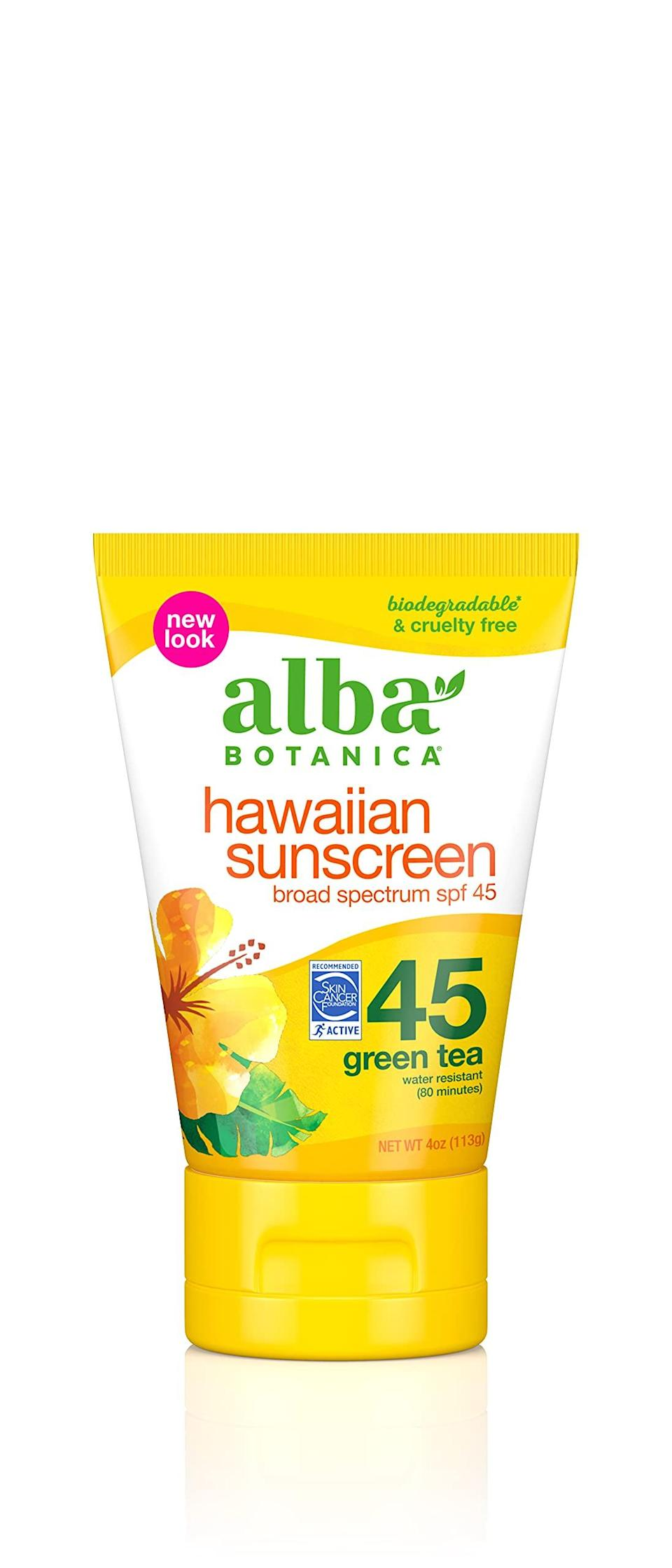 """<h2>Alba Botanica<br></h2><br>20% off select products<br><br><strong>Alba Botanica</strong> Sunscreen Lotion SPF 45, Green Tea, $, available at <a href=""""https://amzn.to/3qhiaPB"""" rel=""""nofollow noopener"""" target=""""_blank"""" data-ylk=""""slk:Amazon"""" class=""""link rapid-noclick-resp"""">Amazon</a>"""
