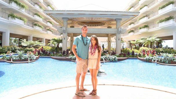 PHOTO: Josh and Michelle in front of the Lucky Mermaid Fountain at the Grand Wailea.  (Grand Wailea Resort)