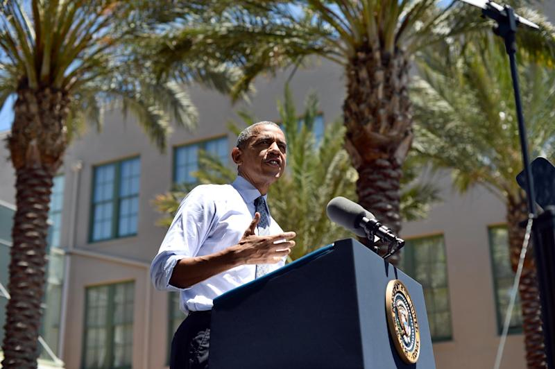 US President Barack Obama speaks at Los Angeles Trade-Technical College in Los Angeles, California, on July 24, 2014