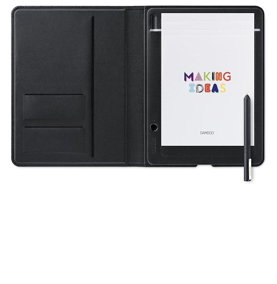 """<p><strong>Wacom</strong></p><p>amazon.com</p><p><a href=""""https://www.amazon.com/dp/B06W9G68PV?tag=syn-yahoo-20&ascsubtag=%5Bartid%7C10054.g.2121%5Bsrc%7Cyahoo-us"""" rel=""""nofollow noopener"""" target=""""_blank"""" data-ylk=""""slk:Buy"""" class=""""link rapid-noclick-resp"""">Buy</a></p><p>Whether she's writing stories, tackling work, making sketches, or jotting down lists, Wacom's smart notebook and pen combo will sync her phone notes with her handwritten notes.</p>"""