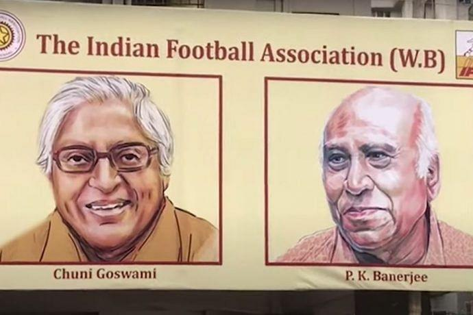 A hoarding that commemorates two of the greatest footballers that the country has ever produced - Chuni Goswami and PK Banerjee.
