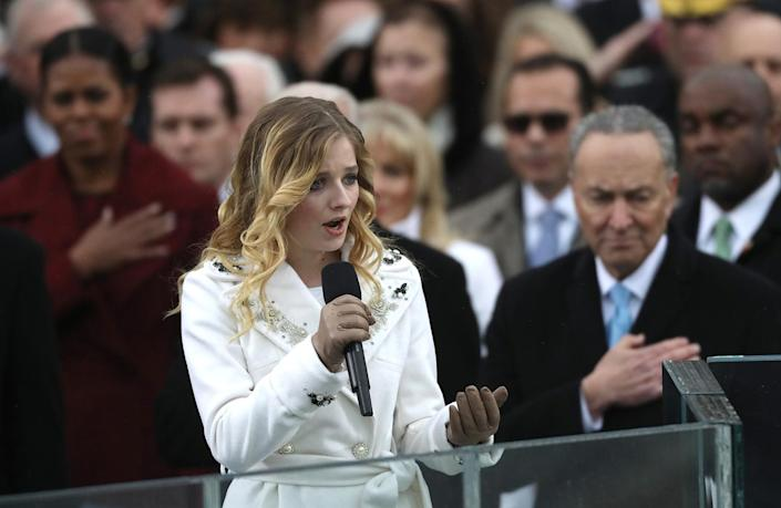 <p>Jackie Evancho sings the U.S. National Anthem during inauguration ceremonies swearing in Donald Trump as the 45th president of the United States on the West front of the U.S. Capitol in Washington on Jan. 20, 2017. (Photo: Carlos Barria/Reuters) </p>