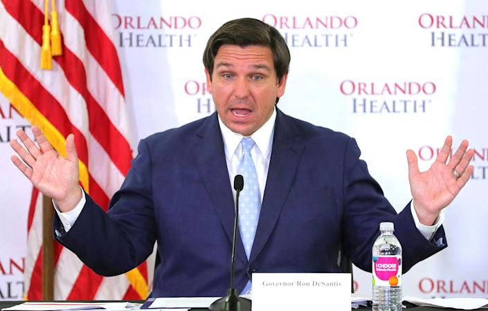 Florida Gov. Ron DeSantis during a news conference on the state's status in the coronavirus crisis on April 26. (Joe Burbank/Orlando Sentinel/TNS via Getty Images)