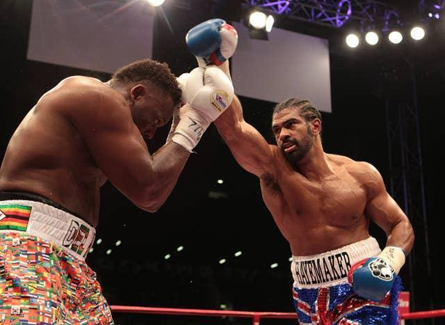 Haye, right, was over two stones lighter than Chisora for their grudge fight in London