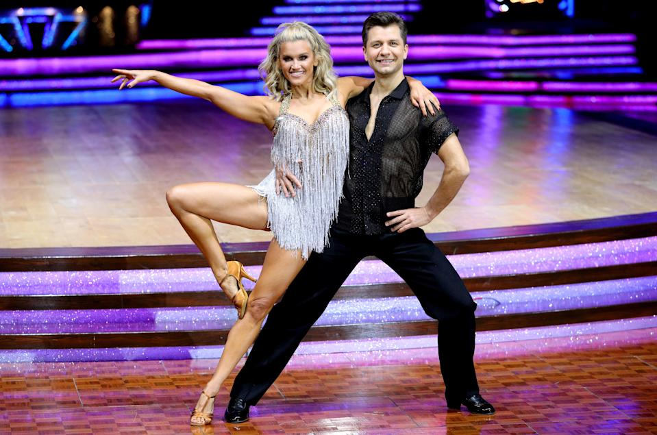 Ashley Roberts and Pasha Kovalev pose for photographers during a photocall before the opening night of the Strictly Come Dancing Tour 2019 at the Arena Birmingham, in Birmingham. (Aaron Chown/PA Wire via Getty Images)