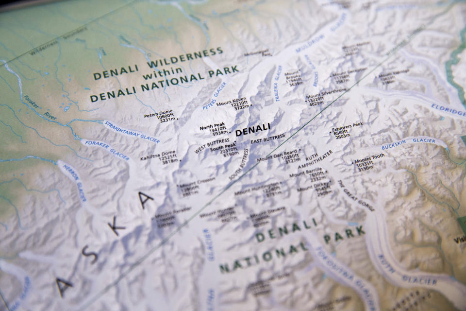 FILE - A National Park Service map depicting the renamed Denali is shown on Monday, Aug. 31, 2015. Rangers who keep an eye on North America's highest mountain peak say they are seeing impatient and inexperienced climbers take more risks and put their lives and other climbers in danger In 2021. (AP Photo/Andrew Harnik, file)