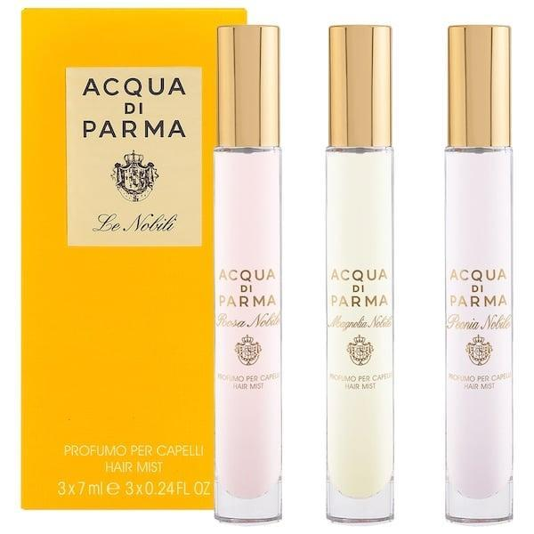 <p>Try out three different hair fragrances in this <span>Acqua di Parma Le Nobili Mini Hair Mist Collection Set</span> ($55): The woody Magnolia Nobile, a musky Rosa Nobile, and an amber-scented Peonia Nobile, too.</p>