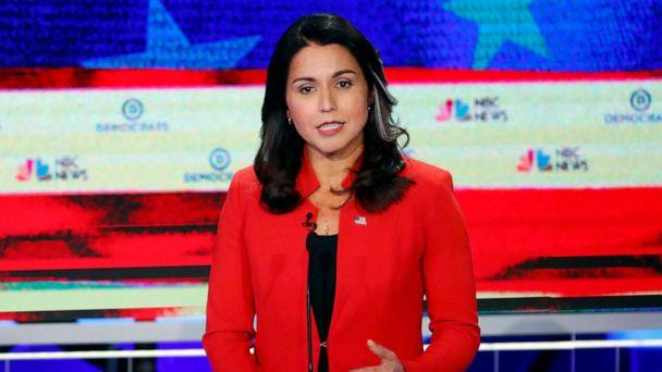 PHOTO: Tulsi Gabbard participates in the first Democratic primary debate hosted by NBC News at the Adrienne Arsht Center for the Performing Arts in Miami, Florida, June 26, 2019. (Wilfredo Lee/AP)