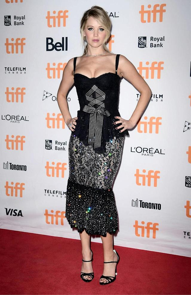 Jennifer Lawrence attends the 2017 Toronto International Film Festival premiere of <em>Mother!</em> in Dolce & Gabbana. (Photo by Emma McIntyre/Getty Images for Paramount Pictures)
