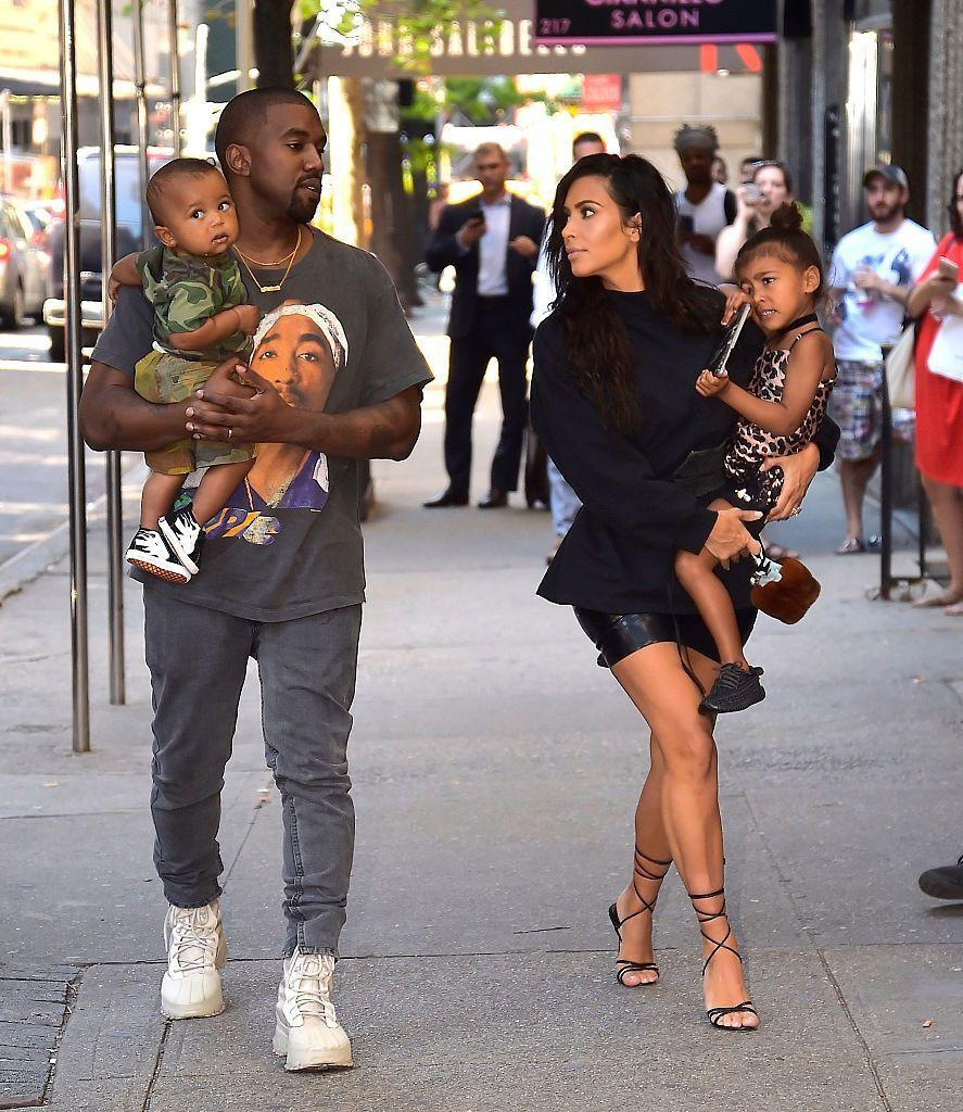 <p>The couple were pictured out and about with their two eldest children North and Saint in New York City in August 2016. </p>