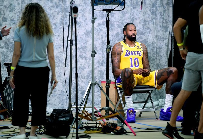 Lakers DeAndre Jordan poses for pictures during media day at the UCLA Health Training Center in El Segundo Oct. 2, 2021.