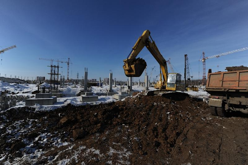 View of a construction site in Saransk with Russian officials saying the country's economic crisis has reached its nadir (AFP Photo/Andrey Smirnov)