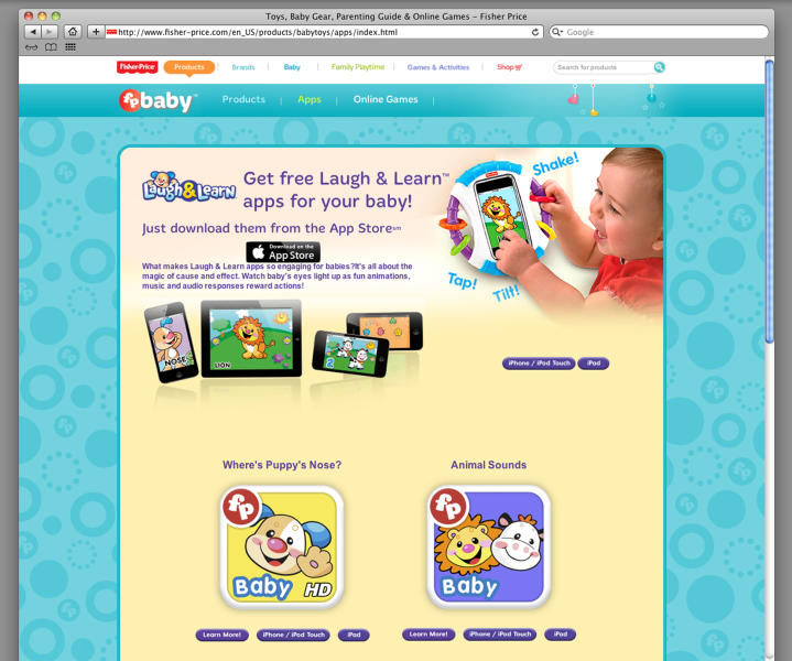 This undated framegrab image from the Fisher-Price website shows Fisher-Price Laugh & Learn mobile apps. The Federal Trade Commission (FTC) is alleging that two popular baby app developers, Fisher-Price Inc. and Open Solutions, are trying to dupe parents into thinking their online games make infant and toddlers smarter. (AP Photo)