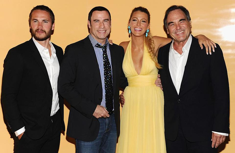 <p>Taylor Kitsch, John Travolta, Lively, and director Oliver Stone attend the <i>Savages </i>New York premiere on June 27, 2012. Lively would marry Ryan Reynolds three months later, in September. <i>(Photo: Dimitrios Kambouris/WireImage)</i></p>