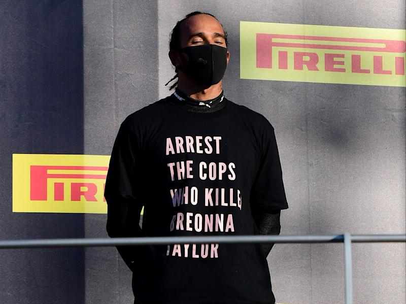 Lewis Hamilton sporting the anti-racism T-shirt on the Mugello podium (Getty Images)