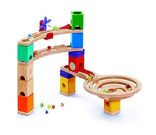 """<p><strong>Hape</strong></p><p>amazon.com</p><p><strong>$27.25</strong></p><p><a href=""""https://www.amazon.com/dp/B079NLL5RC?tag=syn-yahoo-20&ascsubtag=%5Bartid%7C10055.g.26859132%5Bsrc%7Cyahoo-us"""" rel=""""nofollow noopener"""" target=""""_blank"""" data-ylk=""""slk:Shop Now"""" class=""""link rapid-noclick-resp"""">Shop Now</a></p><p>The sturdy, well-constructed wooden pieces <strong>can be continuously reconfigured</strong> to send marbles racing. The system is great for teaching kids STEM principles and problem solving skills with a mixture of spins, drops, and speed based on how they set up the layout. Each color block has a different function, making it a creative approach to marble runs. <em>Ages 4+</em></p>"""