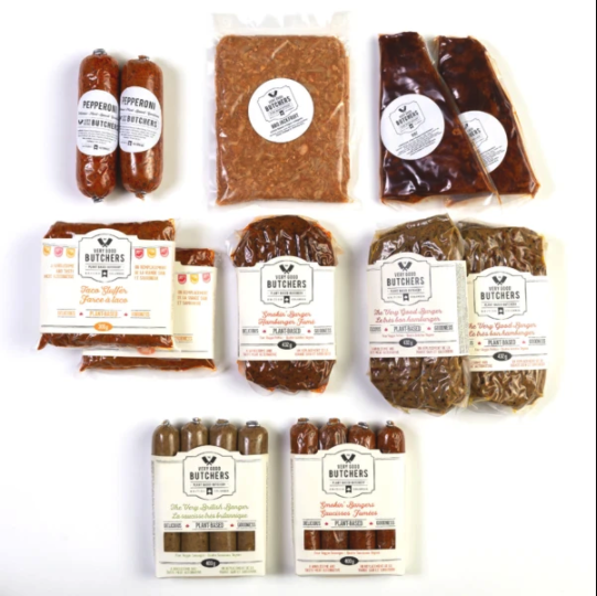 """<strong><h2>Very Good Butchers</h2></strong> <br><strong>How It Works: </strong>This plant-based virtual butcher shop is based in British Columbia and ships its pre-cooked and small-batch vegan meat alternatives across Canada and the U.S.<br><br><strong>What You Get: </strong>Order ala carte, get a boxed assortment, or sign up for the <a href=""""https://www.verygoodbutchers.com/collections/vegan-butcher-boxes/products/monthly-meat-club"""" rel=""""nofollow noopener"""" target=""""_blank"""" data-ylk=""""slk:Monthly Meat Club"""" class=""""link rapid-noclick-resp"""">Monthly Meat Club</a> and receive 5% savings on 6-pack shipments of vegan meats to your doorstep every 30 days. <br><br><strong>Good To Know: </strong>All of the vegan """"meats"""" are minimally-processed and handcrafted in British Columbia with <a href=""""https://www.verygoodbutchers.com/pages/nutritional-information"""" rel=""""nofollow noopener"""" target=""""_blank"""" data-ylk=""""slk:familiar whole-foods"""" class=""""link rapid-noclick-resp"""">familiar whole-foods</a> (like beans, grains, vegetables, and spices).<br><br><strong>Price: </strong>Starting at $5.<br><br><strong>Perfect For: </strong>Meat-lovers who don't eat meat.<br><br><em>Shop <strong><a href=""""https://www.verygoodbutchers.com/"""" rel=""""nofollow noopener"""" target=""""_blank"""" data-ylk=""""slk:Very Good Butchers"""" class=""""link rapid-noclick-resp"""">Very Good Butchers</a></strong></em><br><br><br><br><br><br><br><br><br><br><br>"""