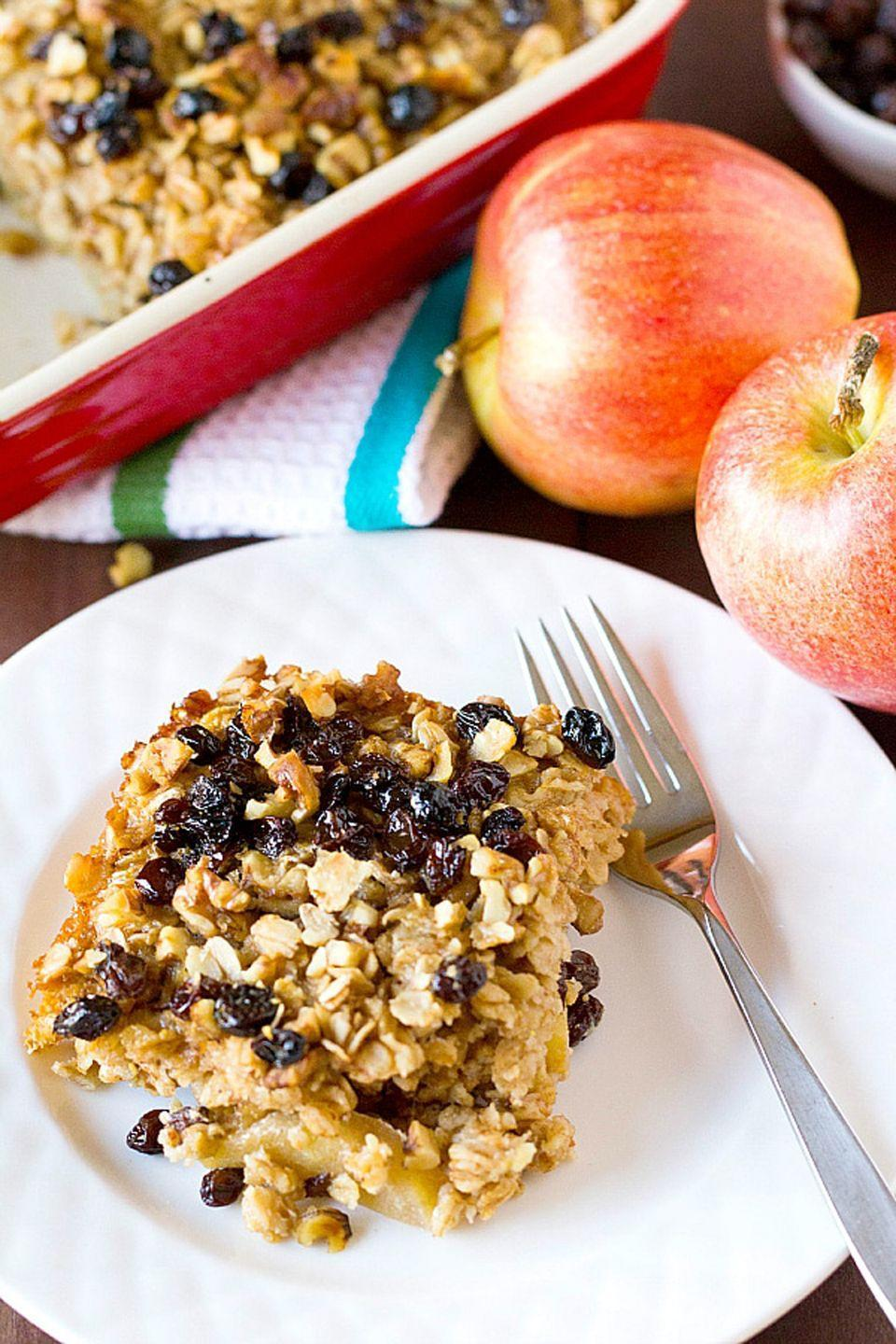 """<p>Whip up a big pan of warm, baked oatmeal big enough to serve the entire family.</p><p><strong>Get the recipe at <a href=""""http://www.browneyedbaker.com/apple-cinnamon-raisin-walnut-baked-oatmeal/"""" rel=""""nofollow noopener"""" target=""""_blank"""" data-ylk=""""slk:Brown Eyed Baker"""" class=""""link rapid-noclick-resp"""">Brown Eyed Baker</a>.</strong></p>"""