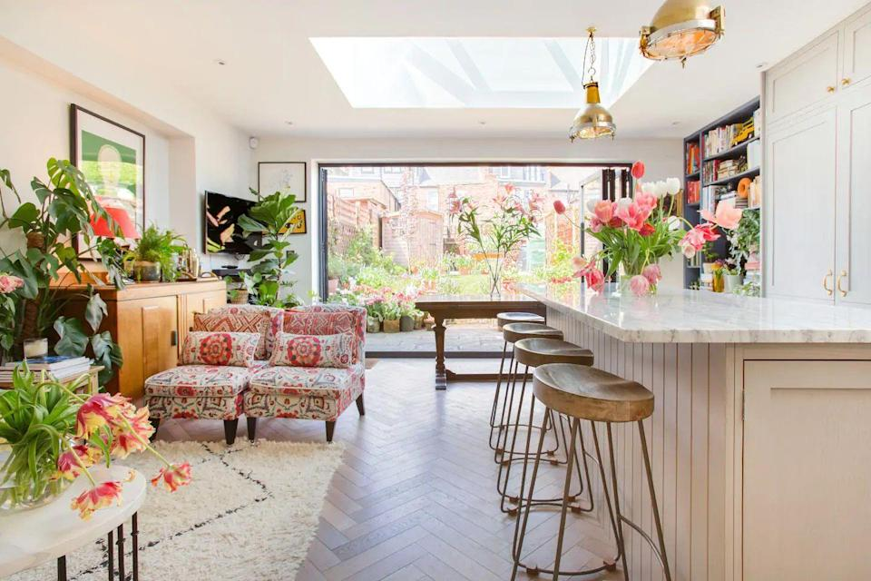 """<p>This peaceful oasis near Chiswick is an interior lover's dream. From the plants to the prints, it's so beautifully decorated that you'll leave this Airbnb with plenty of inspiration for your own home. The two-bedroom garden flat is perfect if you're after a quiet pad and is full of life and charm. Both the modern living area, with its eclectic accents collected from across the globe, and the tranquil garden offer respite from the city streets.</p><p><strong>Sleeps: </strong>Four</p><p><strong>Price per night: </strong>£295.00</p><p><a class=""""link rapid-noclick-resp"""" href=""""https://airbnb.pvxt.net/n14P07"""" rel=""""nofollow noopener"""" target=""""_blank"""" data-ylk=""""slk:SEE INSIDE"""">SEE INSIDE</a></p>"""