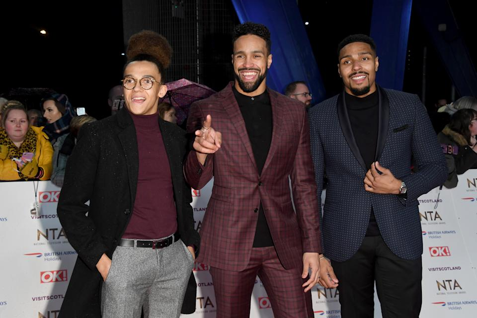 LONDON, ENGLAND - JANUARY 22:  Perry Kiely, Ashley Banjo and Jordan Banjo attend the National Television Awards held at the O2 Arena on January 22, 2019 in London, England. (Photo by Stuart C. Wilson/Getty Images)