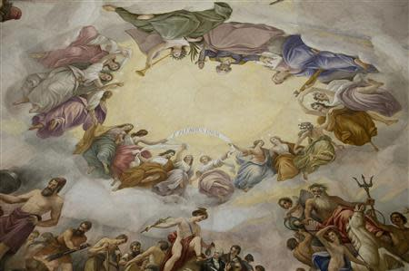 "A detail of Constantino Brumidi's painting ""The Apotheosis of Washington"" is shown on the ""eye"" or ceiling of the U.S. Capitol's rotunda during a media tour of the capitol dome on Capitol Hill in Washington, December 19, 2013. REUTERS/Douglas Graham/POOL"