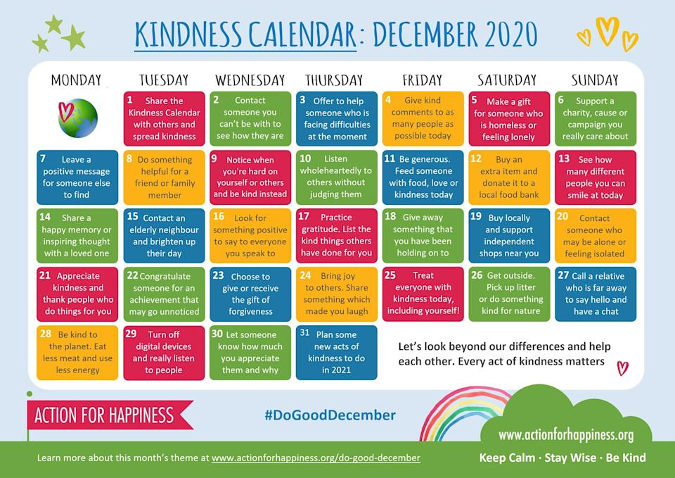Kindness Calendar (Photo: Action For Happiness)