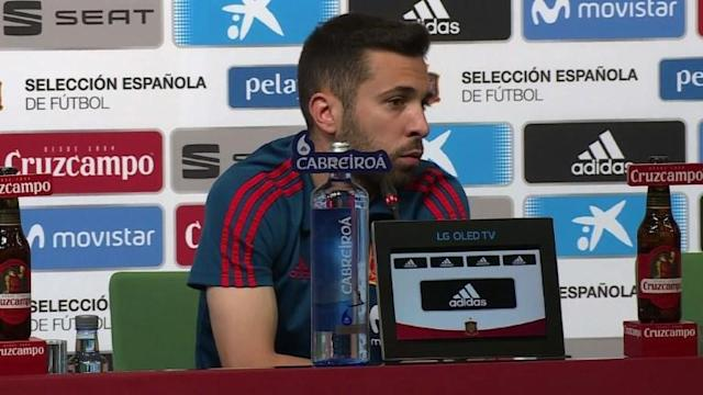 "Spain defender Jordi Alba says the atmosphere in the Spanish camp ""is positive"" as La Roja return to training in Krasnodar a day after narrowly defeating Iran in their second World Cup match."