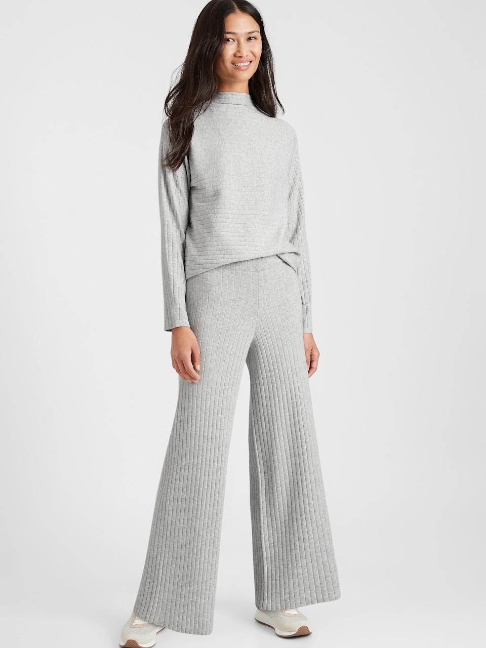 <p>These <span>Banana Republic Ribbed Sweater Pant</span> ($99) definitely double as loungewear but style them with a block heel chelsea boot to dress up the look!</p>