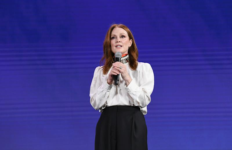 "NEW YORK, NEW YORK - APRIL 30: Actor / Producer / Activist Julianne Moore appears on stage ro introduces the upcoming documentary ""5B"" at the 2019 Verizon Media NewFront on April 30, 2019 in New York City. The film will be released theatrically June 2019. (Photo by Noam Galai/Getty Images for Verizon Media)"