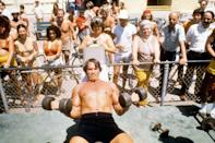 """<p>The bodybuilding craze swept across the United States in the '70s and <a href=""""https://www.menshealth.com/fitness/g19643875/young-arnold-schwarzenegger/"""" rel=""""nofollow noopener"""" target=""""_blank"""" data-ylk=""""slk:Arnold Schwarzenegger rose to fame"""" class=""""link rapid-noclick-resp"""">Arnold Schwarzenegger rose to fame</a> as the face of the sport.</p>"""