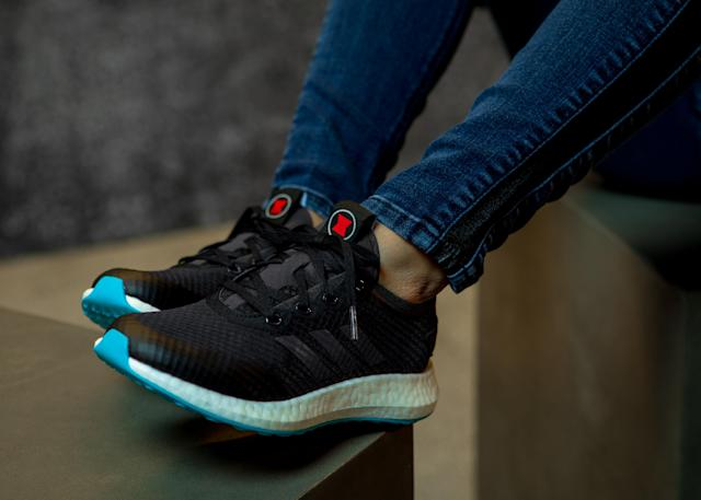 Get some spring in your step with these Adidas <em>Black Widow</em> shoes. (Photo: Disney Dpecp)
