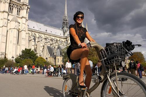 """<div class=""""caption-credit""""> Photo by: cyclechicparis.com</div>Cycling around Paris is a breeze due to the """"Velib"""" bike sharing system. Heels optional."""