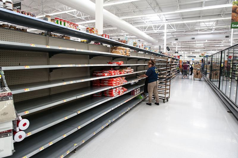 Hawaiian rolls and tortillas were the only remaining bread products at the Walmart in Katy, Texas, on Wednesday. (Joseph Rushmore for HuffPost)