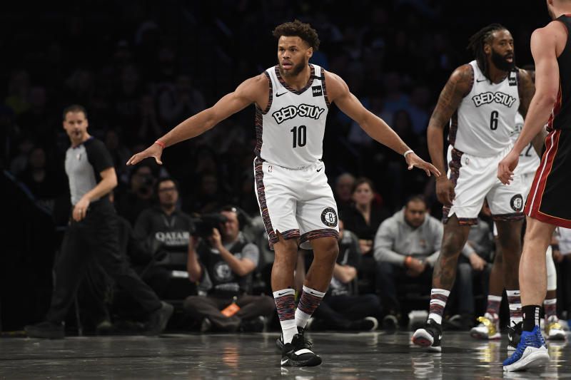 NEW YORK, NEW YORK - JANUARY 10: Justin Anderson #10 of the Brooklyn Nets defends during the first half of the game against the Miami Heat at Barclays Center on January 10, 2020 in the Brooklyn borough of New York City. NOTE TO USER: User expressly acknowledges and agrees that, by downloading and or using this photograph, User is consenting to the terms and conditions of the Getty Images License Agreement. (Photo by Sarah Stier/Getty Images)