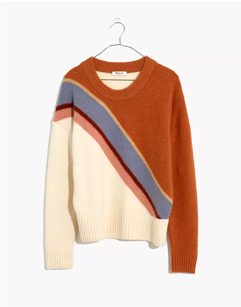 """<p><strong>Madewell</strong></p><p>madewell.com</p><p><a href=""""https://go.redirectingat.com?id=74968X1596630&url=https%3A%2F%2Fwww.madewell.com%2Fstriped-lyford-pullover-sweater-in-coziest-textured-yarn-MA721.html&sref=https%3A%2F%2Fwww.elle.com%2Ffashion%2Fshopping%2Fg34276887%2Fmadewell-jeans-sale-october-2020%2F"""" rel=""""nofollow noopener"""" target=""""_blank"""" data-ylk=""""slk:SHOP IT"""" class=""""link rapid-noclick-resp"""">SHOP IT</a></p><p><strong><del>$90</del> <del>$60</del> $63 (30% off)</strong></p><p>This retro sweater makes me feel nostalgic for ski trips to Aspen with the squad back in the '70s. (I was born in the '90s.) </p>"""