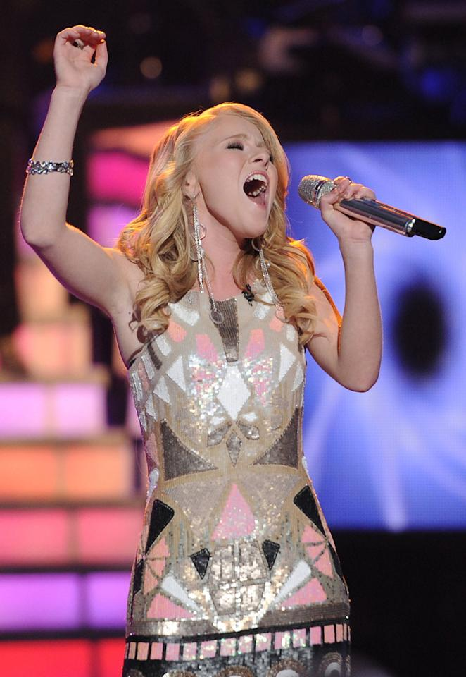"Hollie Cavanagh performs ""River Deep – Mountain High"" by Ike and Tina Turner on ""<a target=""_blank"" href=""http://tv.yahoo.com/american-idol/show/34934"">American Idol</a>."""