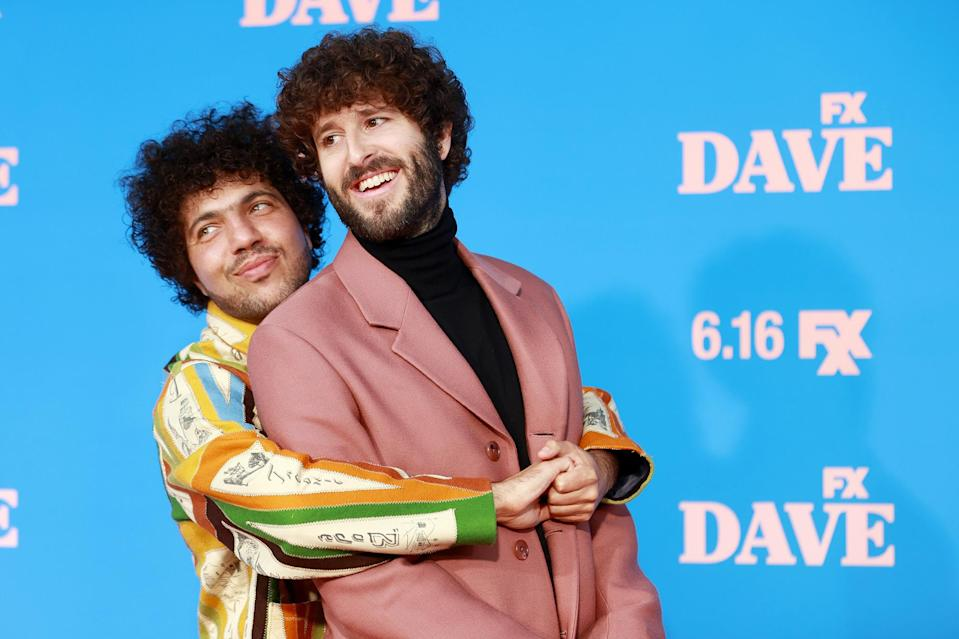 <p>Costars Benny Blanco and Dave Burd pose together on the red carpet for the season 2 premiere of <i>Dave</i> on June 10 at The Greek Theatre in L.A. </p>