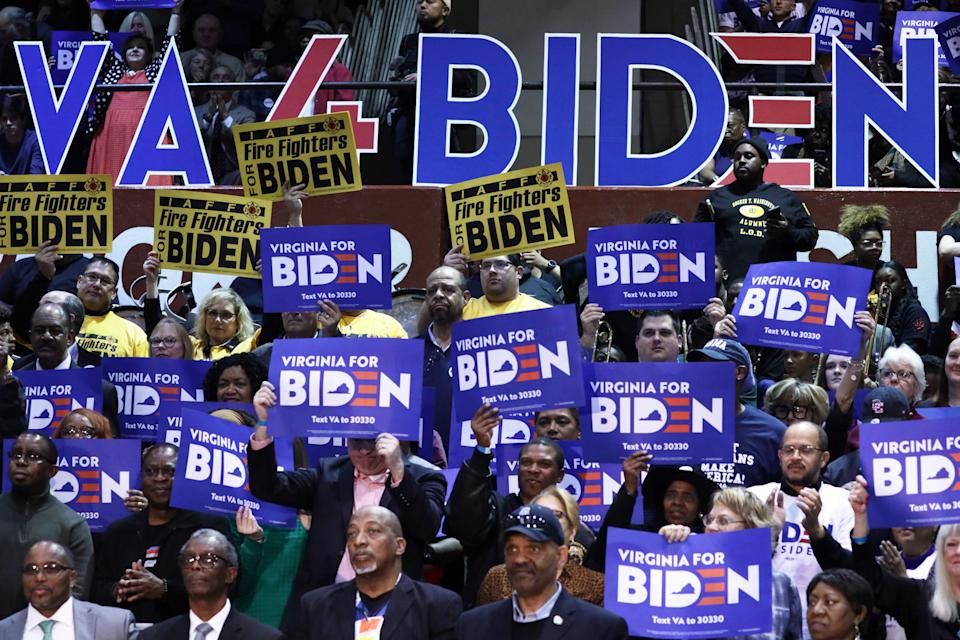Supporters cheer Joe Biden on March 1, 2020, in Norfolk, Virginia.