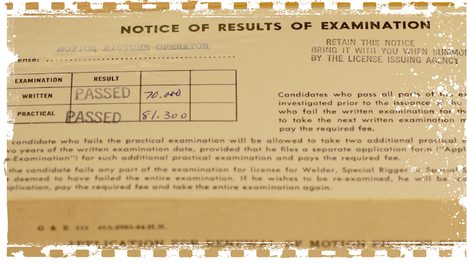 Motion picture operator exam results (Courtesy Joe Rivierzo)
