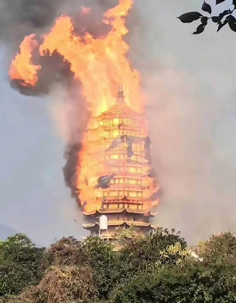 The pagoda was burnt to the ground (Picture: Asia Wire)