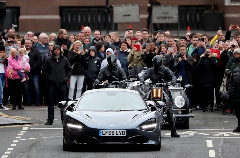 Filming for a car chase scene involving a McLaren sports car and motorbikes takes place in Glasgow city centre, for a new Fast and Furious franchise movie. (Photo by Jane Barlow/PA Images via Getty Images)