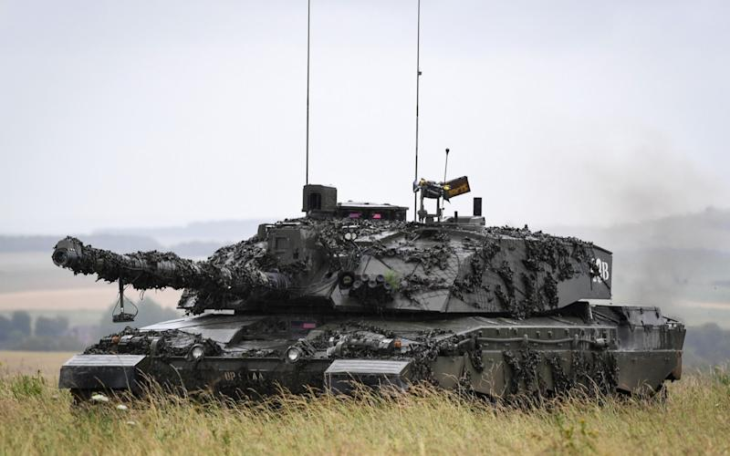 A Challenger 2 tank on Salisbury Plain training area in July 2020 - Getty