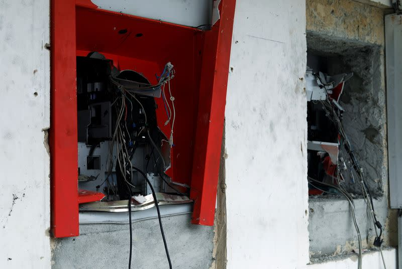 Destroyed ATM cash machines are pictured in the Lekki district of the commercial capital Lagos